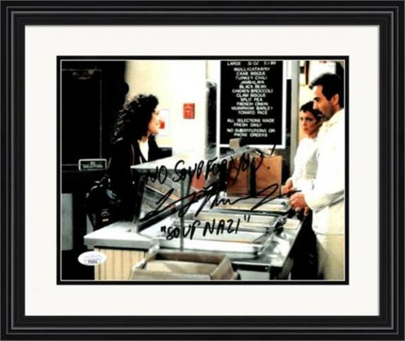 Larry Thomas autographed 8x10 Photo The Soup Nazi, No Soup for You (Seinfeld) Elaine Benes ordering Matted & Framed JSA Authenticated