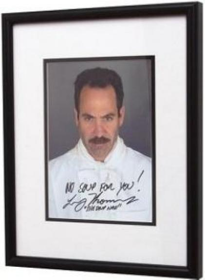 Larry Thomas autographed photo Soup Nazi inscribed No Soup for You from Seinfeld TV Show size 8x10 framed matted