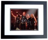 Lars Ulrich, Kirk Hammett, and Robert Trujillo Signed - Autographed METALLICA Drummer Concert 8x10 inch Photo BLACK CUSTOM FRAME - Guaranteed to pass PSA or JSA
