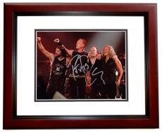 Lars Ulrich, Kirk Hammett, and Robert Trujillo Signed - Autographed METALLICA Drummer Concert 8x10 inch Photo MAHOGANY CUSTOM FRAME - Guaranteed to pass PSA or JSA