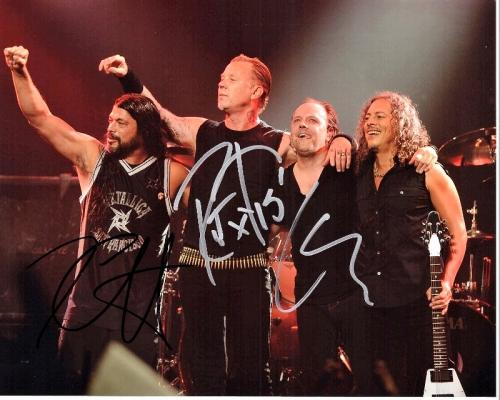 Lars Ulrich, Kirk Hammett, and Robert Trujillo Signed - Autographed METALLICA 8x10 inch Photo - Guaranteed to pass BAS