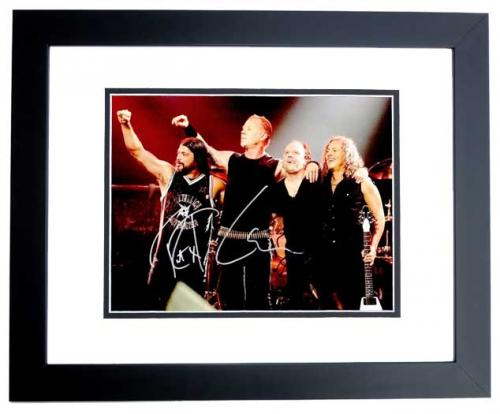Lars Ulrich, Kirk Hammett, and Robert Trujillo Signed - Autographed METALLICA Drummer 11x14 inch Photo - BLACK CUSTOM FRAME - Guaranteed to pass PSA or JSA