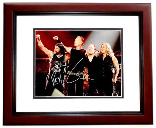 Lars Ulrich, Kirk Hammett, and Robert Trujillo Signed - Autographed METALLICA Drummer 11x14 inch Photo - MAHOGANY CUSTOM FRAME - Guaranteed to pass PSA or JSA