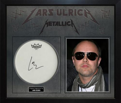 Lars Ulrich Metallica Autographed Signed Drumhead With Custom Display Case