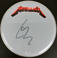 Lars Ulrich Metallica Signed 13 Inch Drumhead PSA/DNA #AC17140