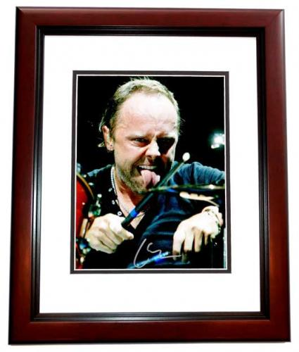 Lars Ulrich Signed - Autographed METALLICA Drummer Concert 8x10 inch Photo MAHOGANY CUSTOM FRAME - Guaranteed to pass PSA or JSA