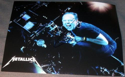 "Lars Ulrich Signed ""metallica"" Huge 11x14 Drums Photo"