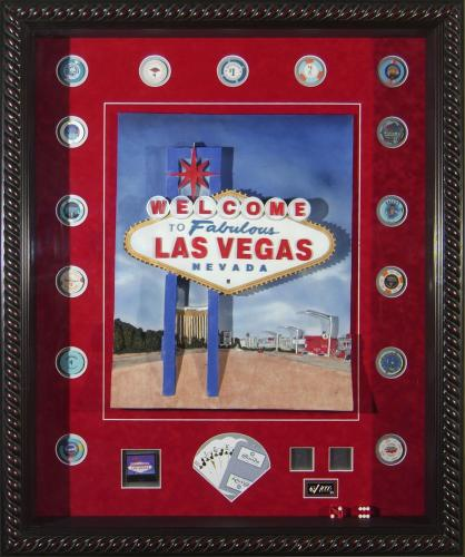 Las Vegas shadow box collage with playing cards, dice, and surrounding chips Framed