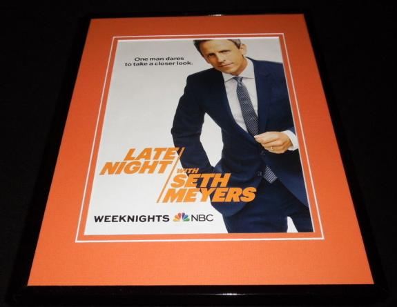Late Night with Seth Meyers 2017 NBC Framed 11x14 ORIGINAL Advertisement
