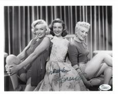 LAUREN BACALL HAND SIGNED 8x10 PHOTO+COA      WITH GRABLE+MARILYN MONROE     JSA