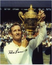 """Rod Laver Autographed 8"""" x 10"""" White Sweater Holding Trophy Photograph"""
