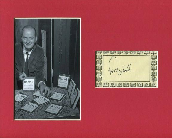 Lawrence Ferlinghetti Beat Poet City Lights Books Signed Autograph Photo Display