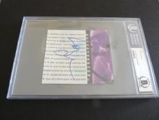 Layne Staley Alice Chains Signed Autographed 4x4.5 Cut Beckett Certified Slabbed