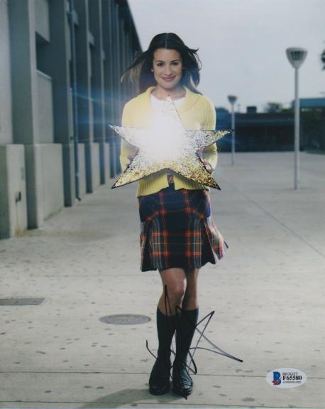 Lea Michele Signed 8x10 Photo Glee Simpsons Beckett Bas Autograph Auto Coa A