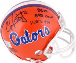 Chris Leak Autographed Gators Mini Helmet with Multiple Inscriptions