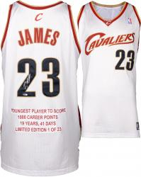 LeBron James Cleveland Cavaliers White Autographed Jersey with Youngest Player to Score 1000 Points Inscription - UDA
