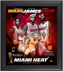 Miami Heat 2012 NBA Finals Champions Framed Collage with Game-Used Basketball - Limited Edition of 250 - Mounted Memories