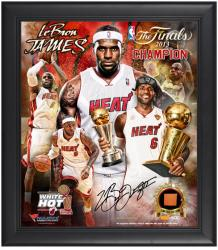 LeBron James Miami Heat 2013 NBA Champions Framed 15x17 Multi-Photo Collage with Game-Used Basketball Piece - L.E. of 500