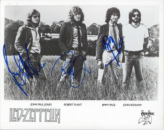 Led Zeppelin (3) Page, Plant, & Jones Signed 8x10 Photo JSA #BB98883