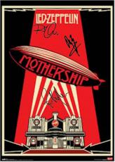 Led Zeppelin Autographed Facsimile Signed Mothership Poster