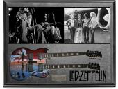 Led Zeppelin Band X3 Signed Airbrushed Dual Neck Guitar + Display Shadowbox AFTA