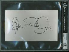 Led Zeppelin Jimmy Page Robert Plant LARGE Signed 6x9 Album Page Beckett BAS