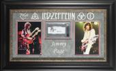 Led Zeppelin Jimmy Page Signed & Framed Cut Signature Display BAS Slabbed