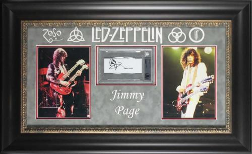 Led Zeppelin Jimmy Page Signed & Framed Cut Signature Display BAS Slabbed