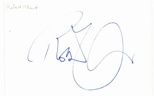 Led Zeppelin Robert Plant Signed Autographed 2.5x4 Album Page Beckett BAS