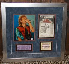 Led Zeppelin ROBERT PLANT signed autographed photo framed display ticket PSA DNA