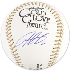 Derrek Lee Autographed Gold Glove Baseball