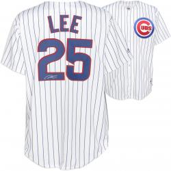 Derrek Lee Chicago Cubs Autographed White Pinstripe Replica Jersey
