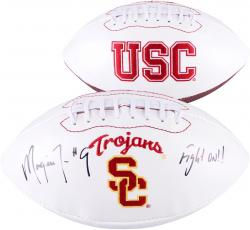 Marqise Lee USC Trojans Autographed White Panel Football with Fight On Inscription - Mounted Memories