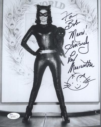 LEE MERIWETHER HAND SIGNED 8x10 PHOTO        SEXY CATWOMAN     TO BOB        JSA