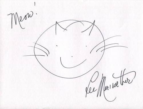LEE MERIWETHER HAND SIGNED ORIGINAL 8x10 DRAWING     AWESOME DRAWING OF A CAT