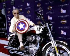 Stan Lee Autographed 16'' x 20'' Captain America On Bike Photograph