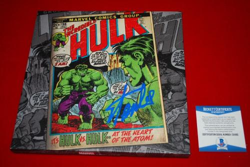 legend marvel icon STAN LEE spiderman signed 10X10 inch canvas Beckett BSA COA