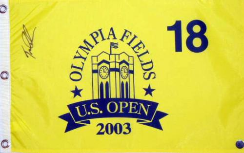Tom Lehman Autographed 2003 Olympia Fields US Open Pin Flag - Mounted Memories