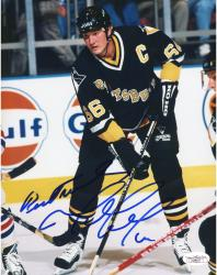 LEMIEUX, MARIO AUTO (PENGUINS/BLACK JERSEY/FACE OFF) 8x10 - Mounted Memories