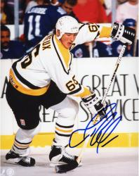 LEMIEUX, MARIO AUTO (PENGUINS/WHITE JERSEY/TONGUE OUT) 8x10 - Mounted Memories