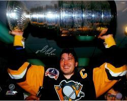 """Mario Lemieux Autographed Stanley Cup 16"""" x 20"""" Photograph"""