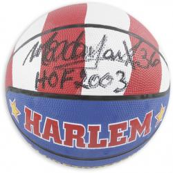 Harlem Globetrotters Medowlark Lemon Autographed Basketball with HOF 2003 Inscription - Mounted Memories