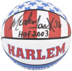 Harlem Globetrotters Meadowlark Lemon Autographed Red/White/Blue Basketball with HOF 2003 Inscription - Mounted Memories