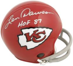 Kansas City Chiefs Len Dawson Autographed ''Hall of Fame 1987'' Mini Helmet - Mounted Memories