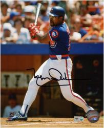 """Leon Durham Chicago Cubs Autographed 8"""" x 10"""" Swinging Blue Uniform Photograph"""