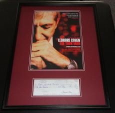 Leonard Cohen Signed Framed 18x24 Check & Poster Photo Display