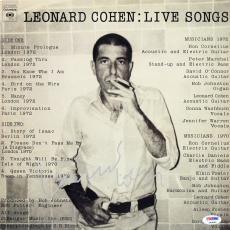 Leonard Cohen Signed Live Songs Album Cover W/ Vinyl Autographed PSA/DNA #L09865