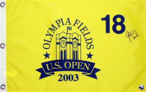 Justin Leonard Autographed 2003 Olympia Fields US Open Pin Flag - Mounted Memories