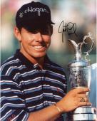 Justin Leonard Autographed 8'' x 10'' Holding Trophy Photograph