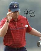 Justin Leonard Autographed 8'' x 10'' Red Shirt Ball In Frame Photograph
